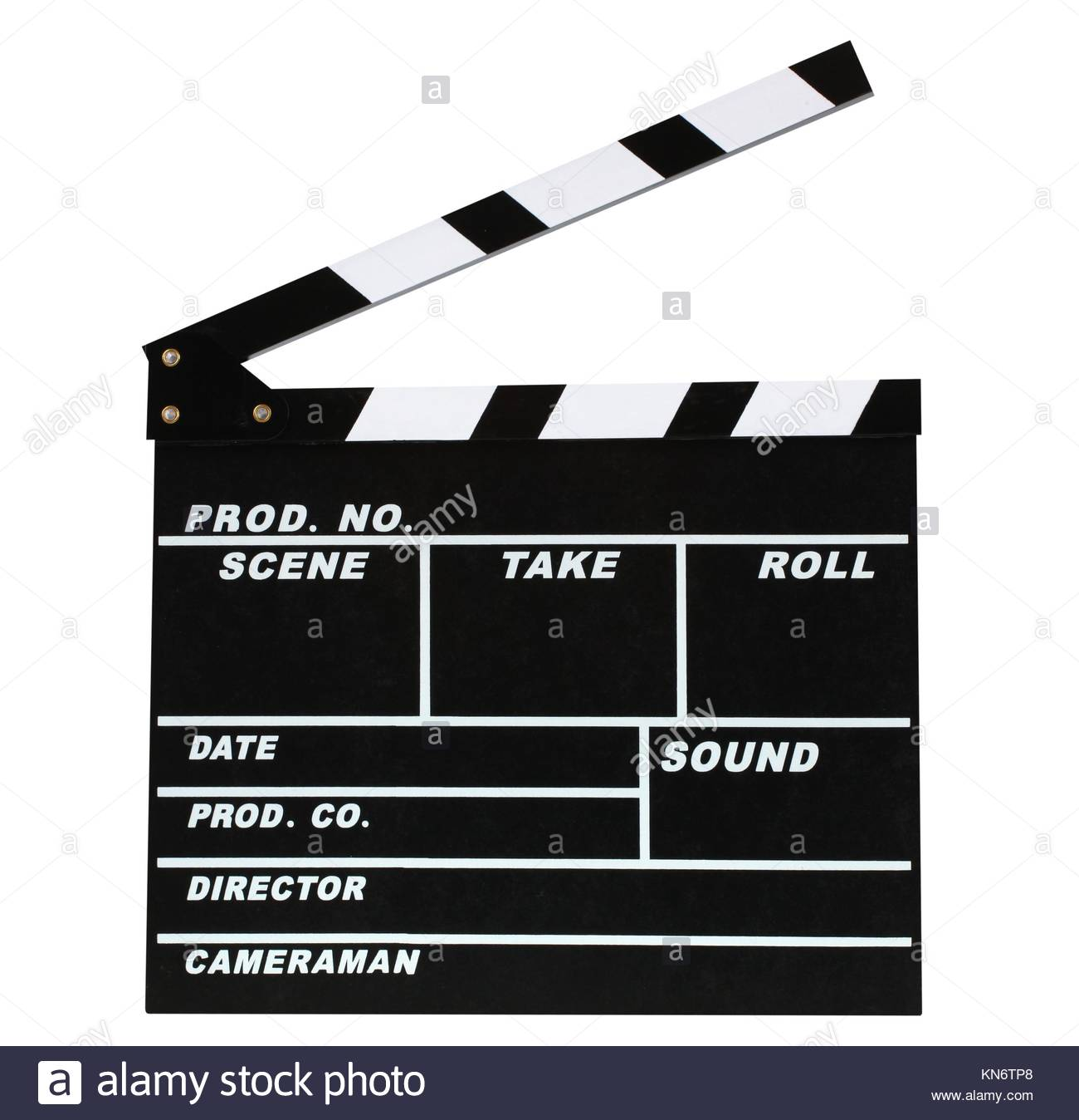 Blank movie production clapper board on white background. - Stock Image