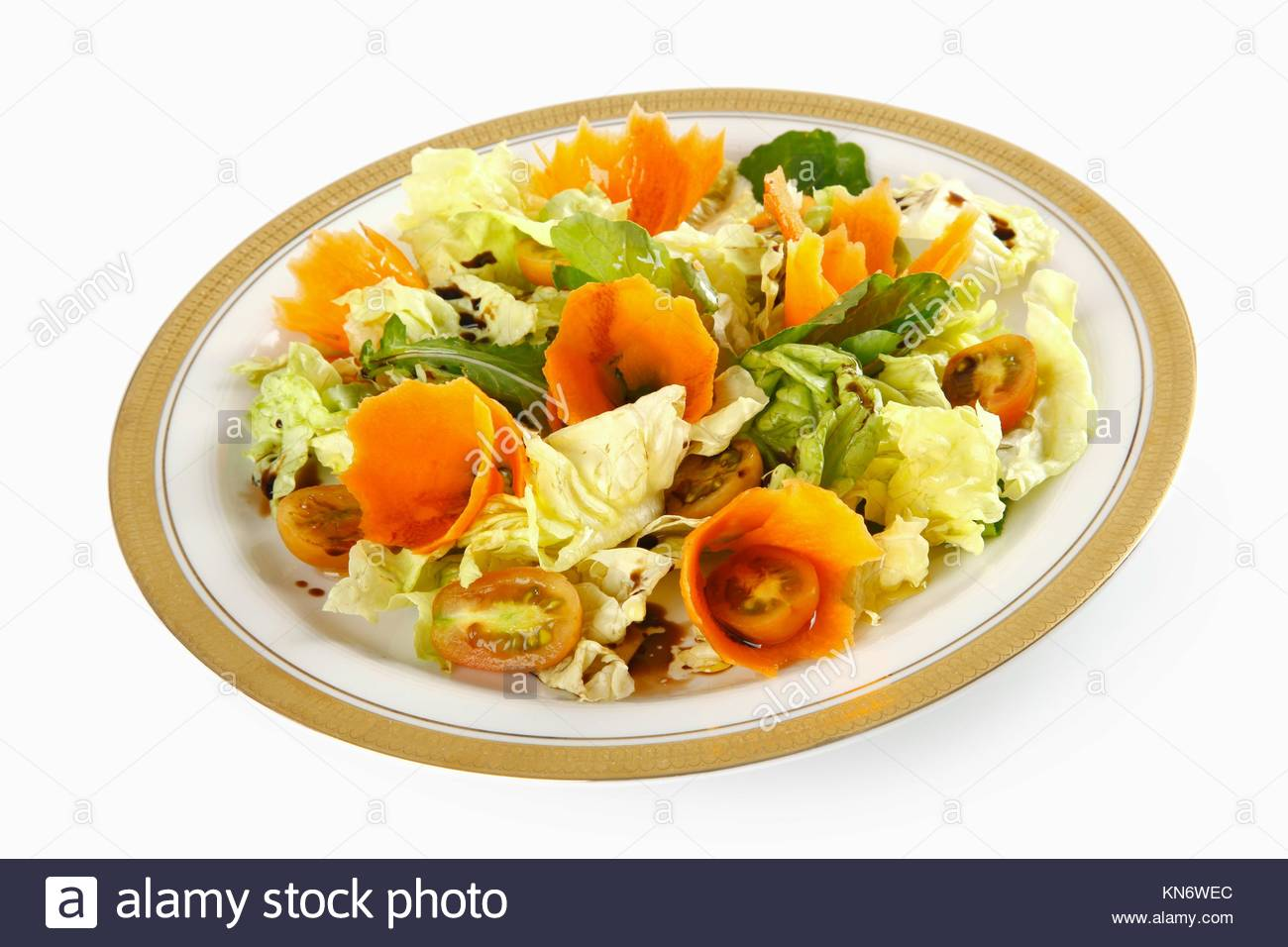 Fresh vegetables: carrot and lettuce; healthy eating and dietary. - Stock Image