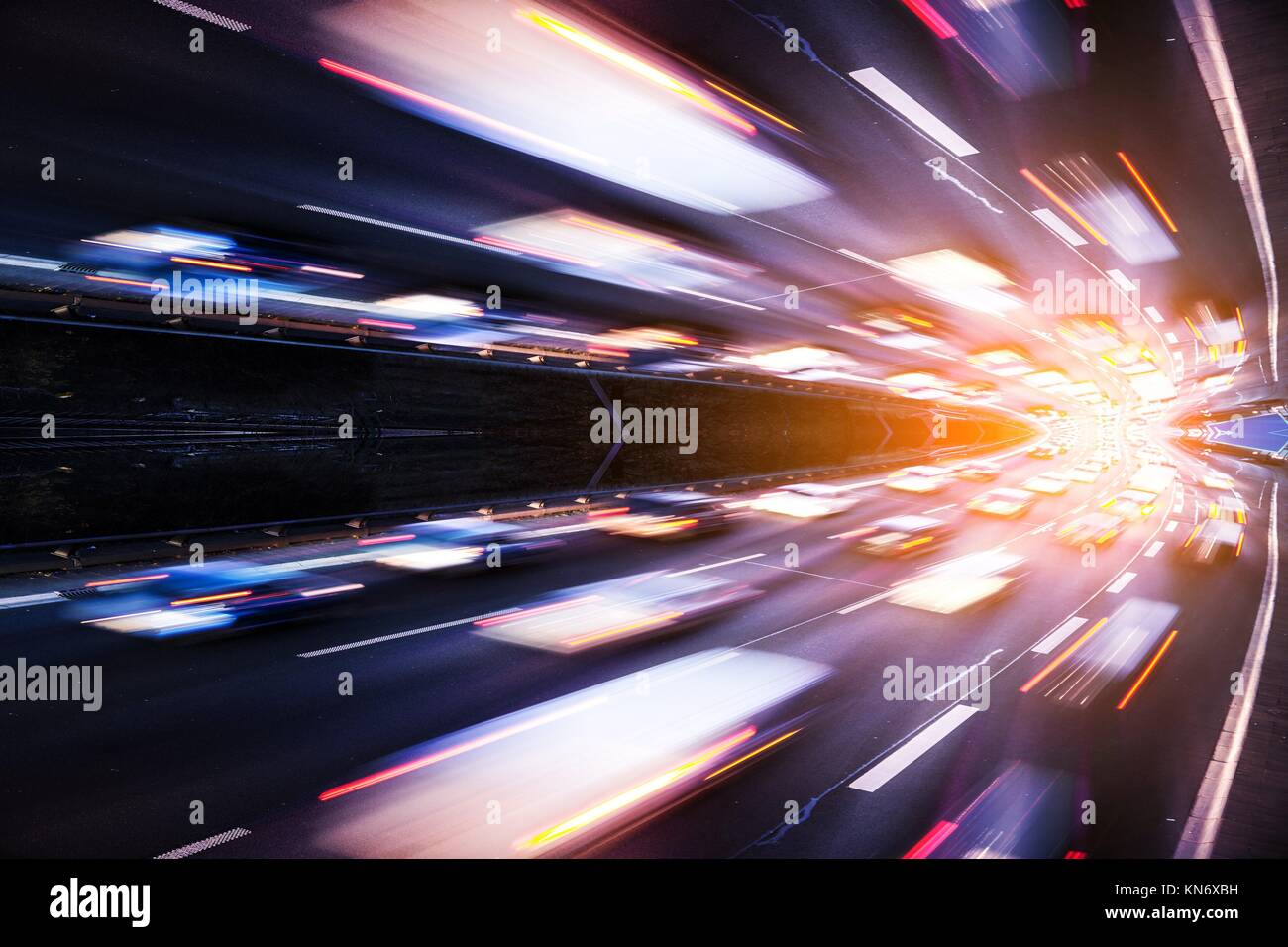 Highway and light effect. - Stock Image
