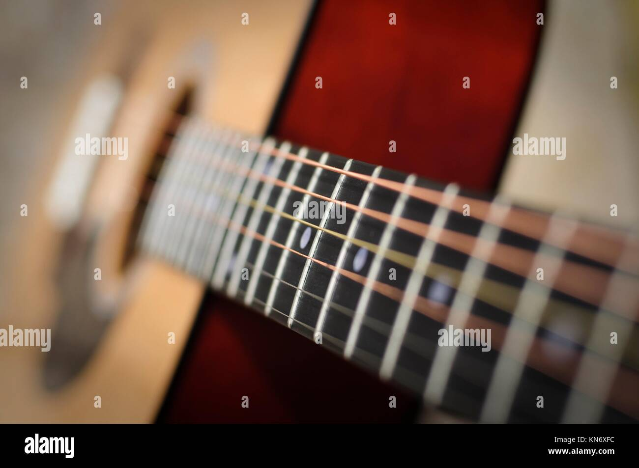 Classic guitar with shallow DoF horizontal. - Stock Image