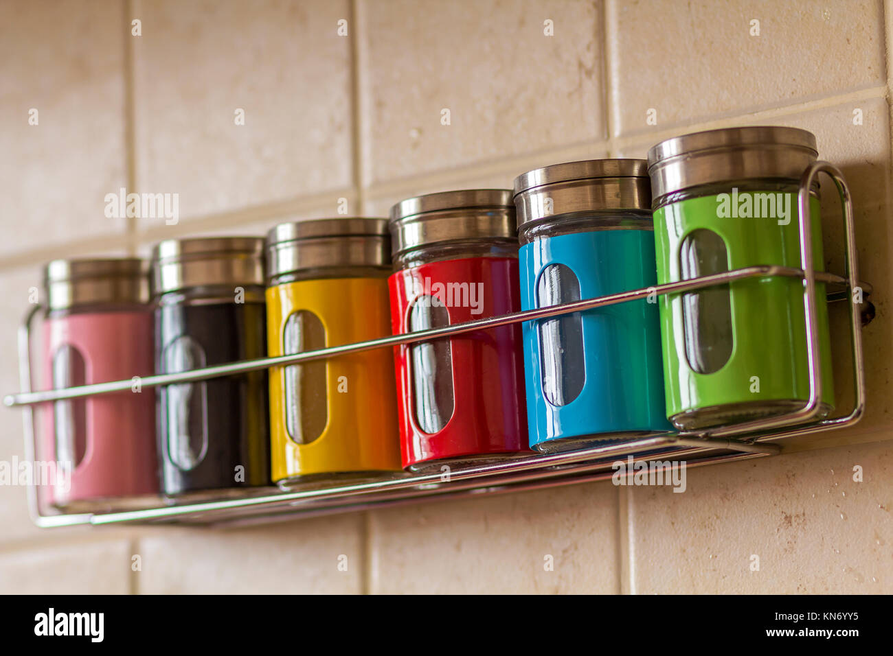 Colorful spice salt and pepper containers in kitchen Stock ...