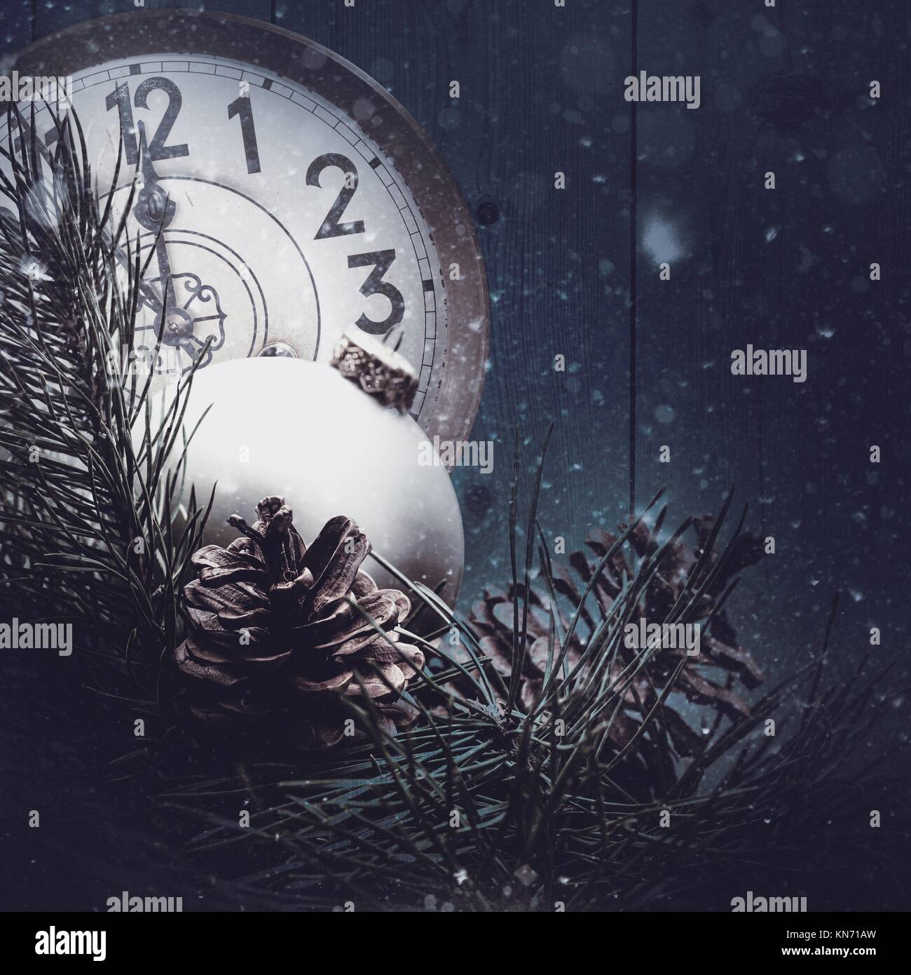 Abstract xmas backgrounds with vintage watches and christmas decorations. Stock Photo