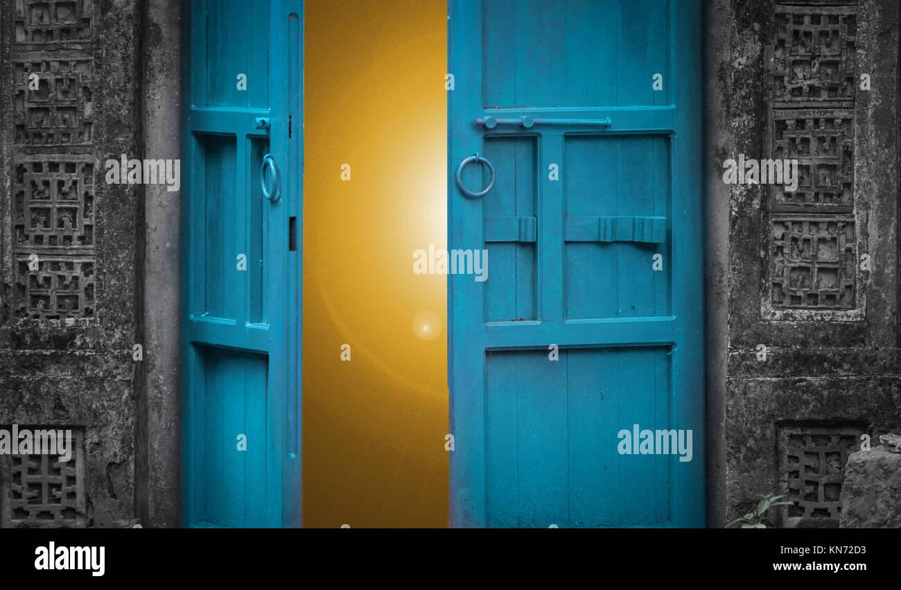 open door with light behind Stock Photo