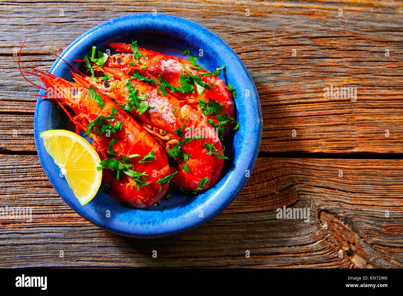 Tapas shrimps prawns seafood from Spain recipes. - Stock Image