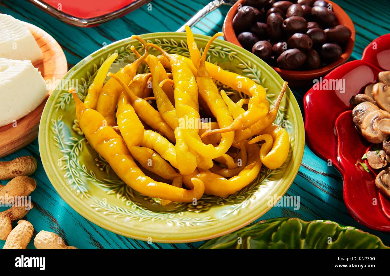 Tapas pickles chili pepper vinegar from Mediterranean Spain. Stock Photo