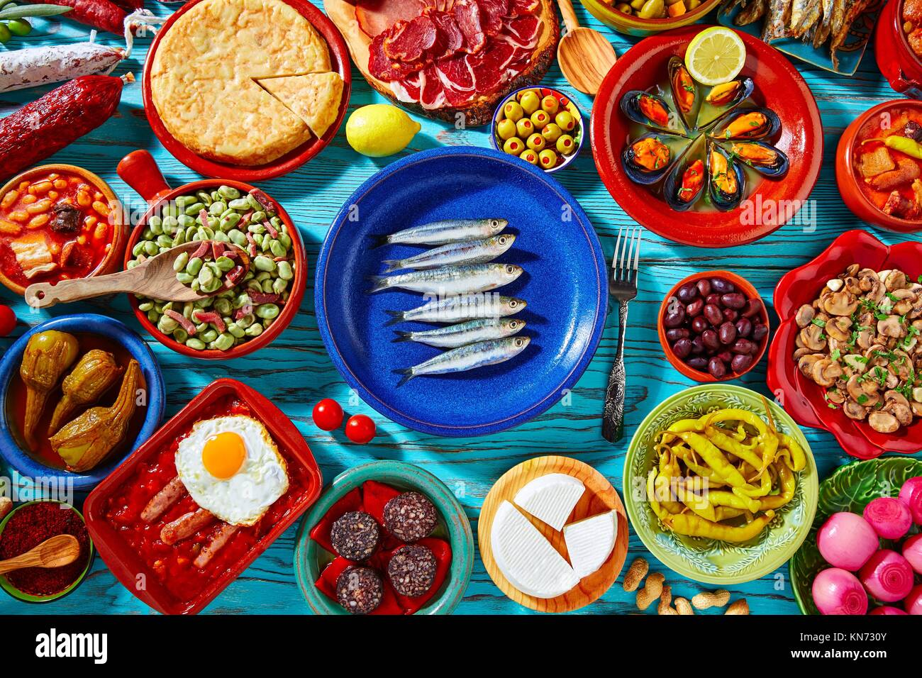 Tapas from spain mix of most popular recipes of Mediterranean cuisine. - Stock Image