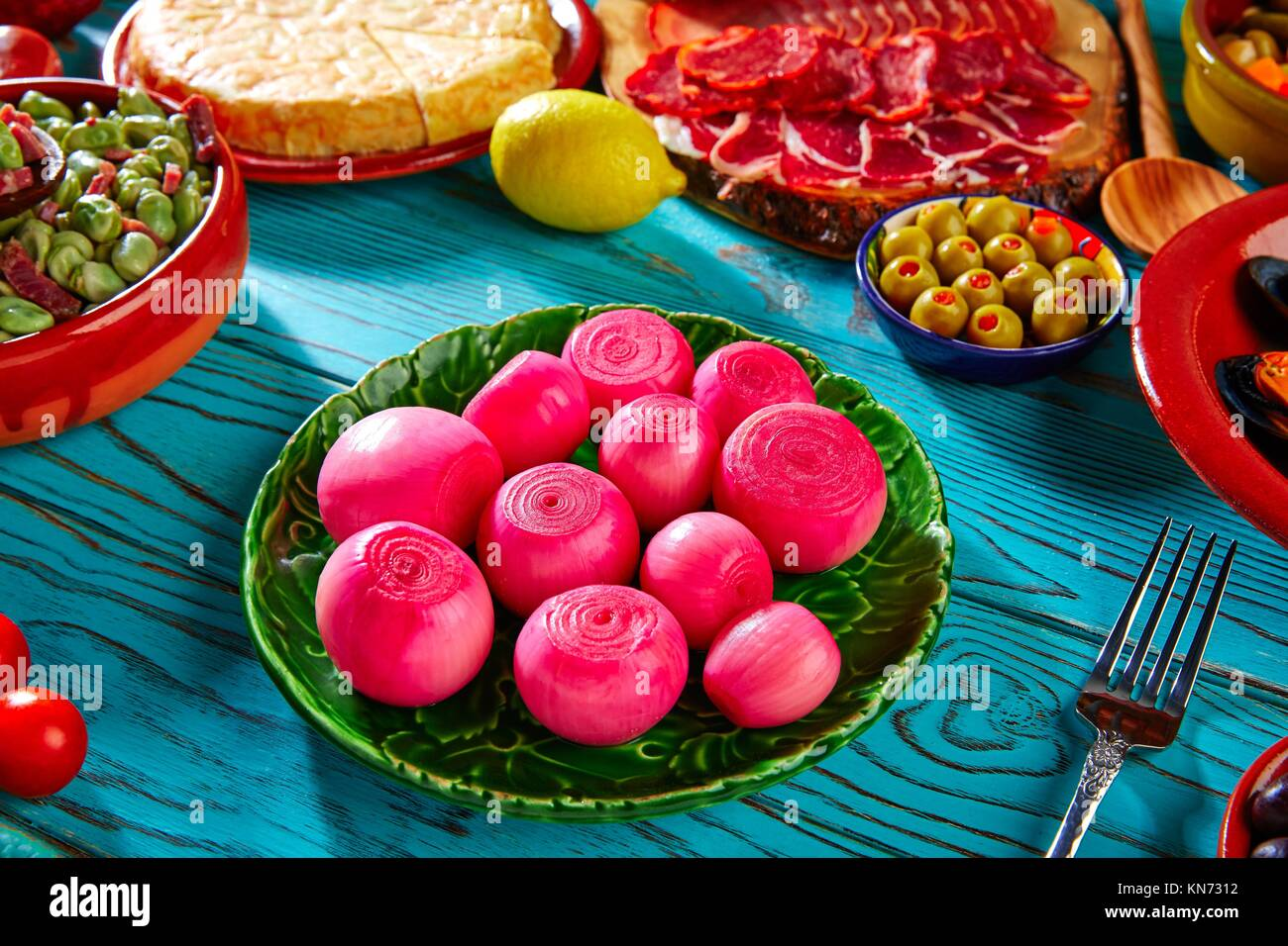 Tapas pickles onion red vinegar from Spain and Mediterranean. - Stock Image