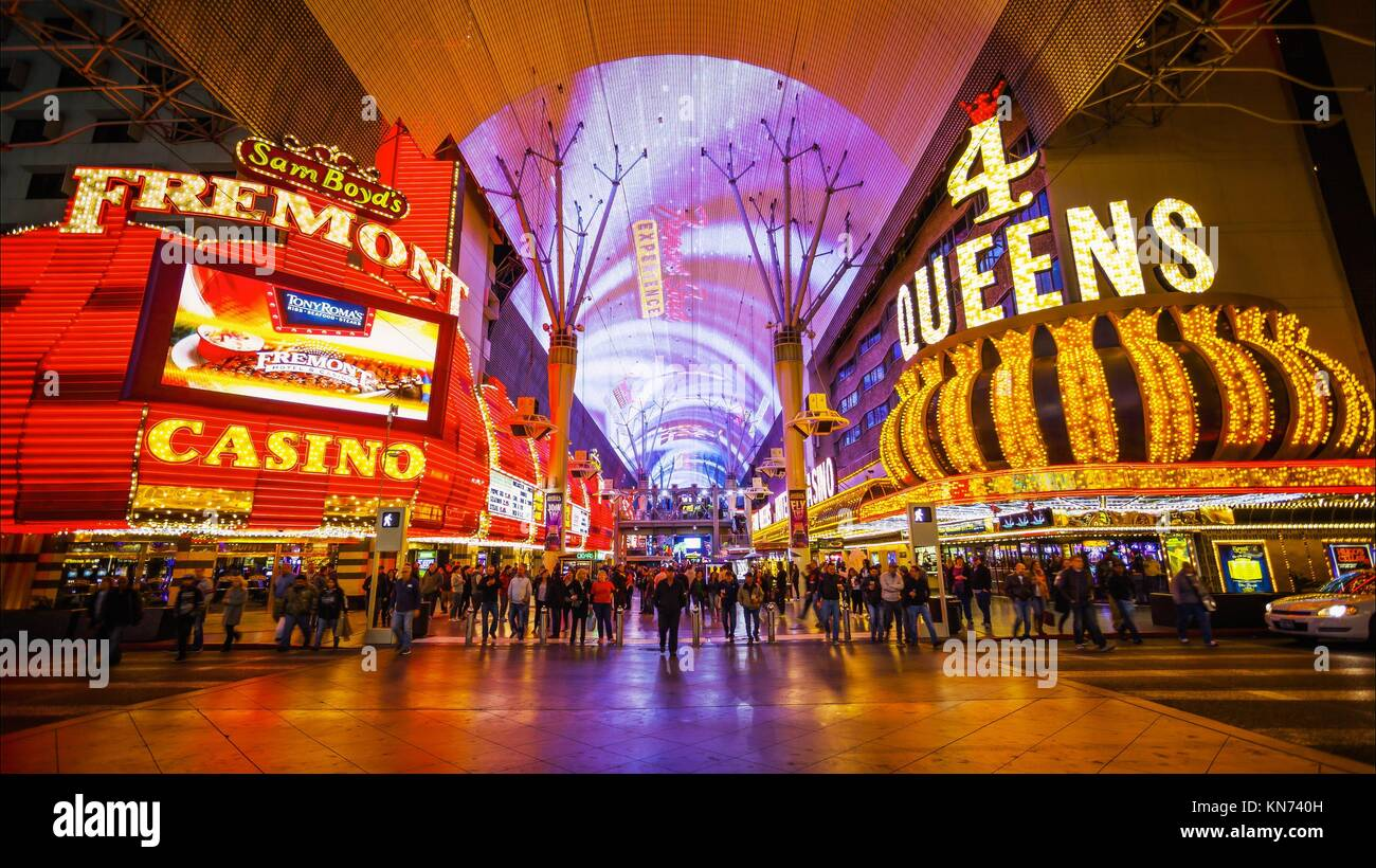 Famous Freemont Street on the Las Vegas Strip at night. Stock Photo