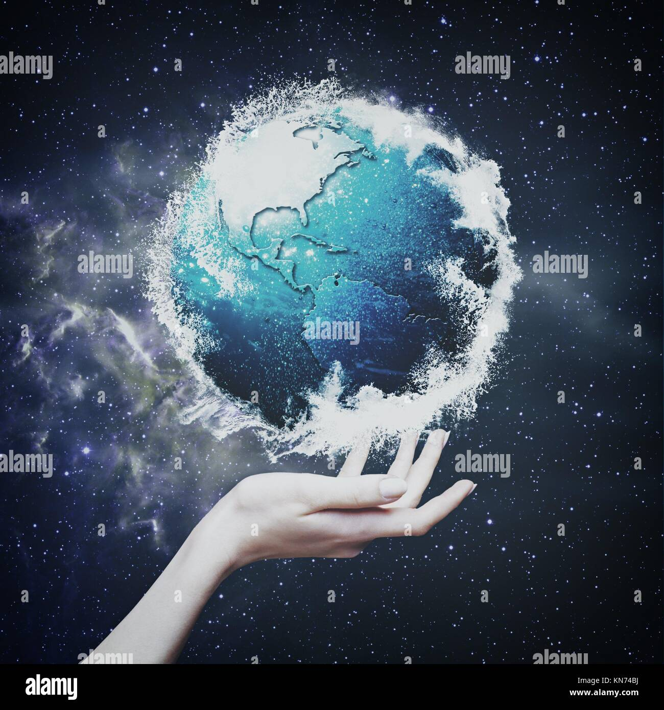 Earth globe against starry backgrounds, environmental concept. - Stock Image