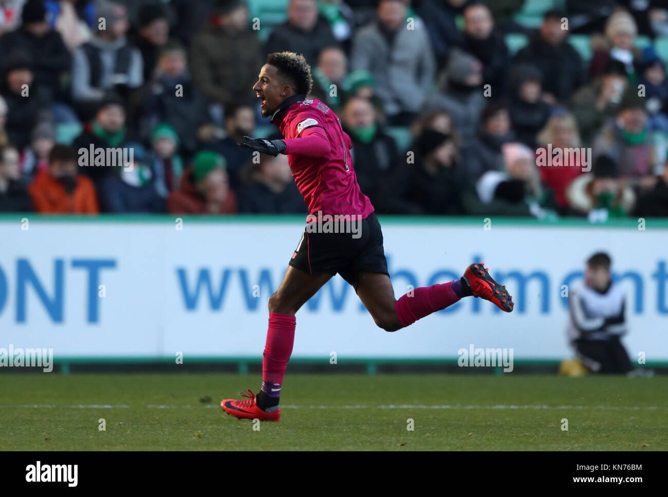 Celtic's Scott Sinclair celebrates scoring his second goal during the Ladbrokes Scottish Premiership match at - Stock Image