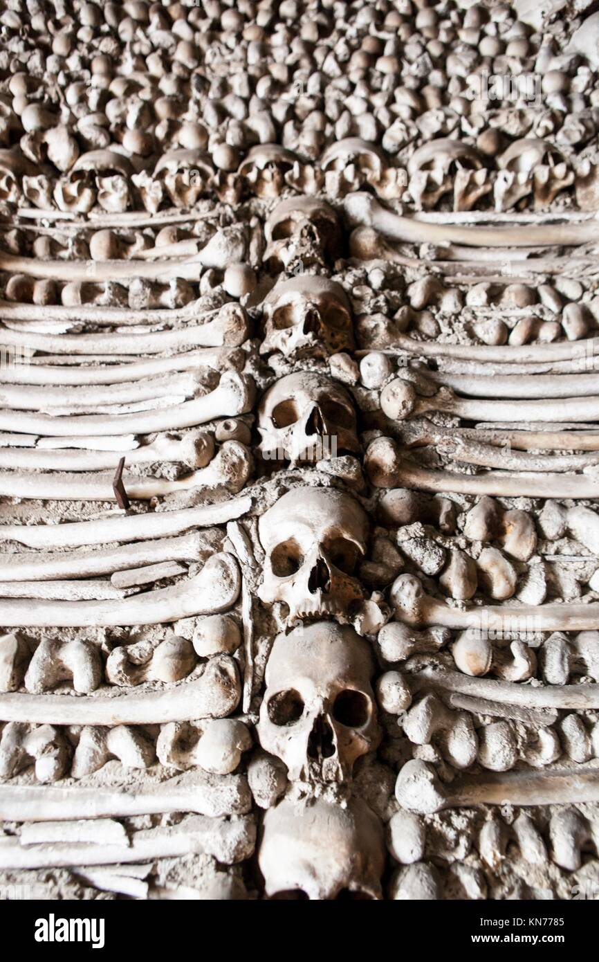 Chapel of human bones at Campo Maior Our Lady of Da Expectaçao Church, Portugal. - Stock Image