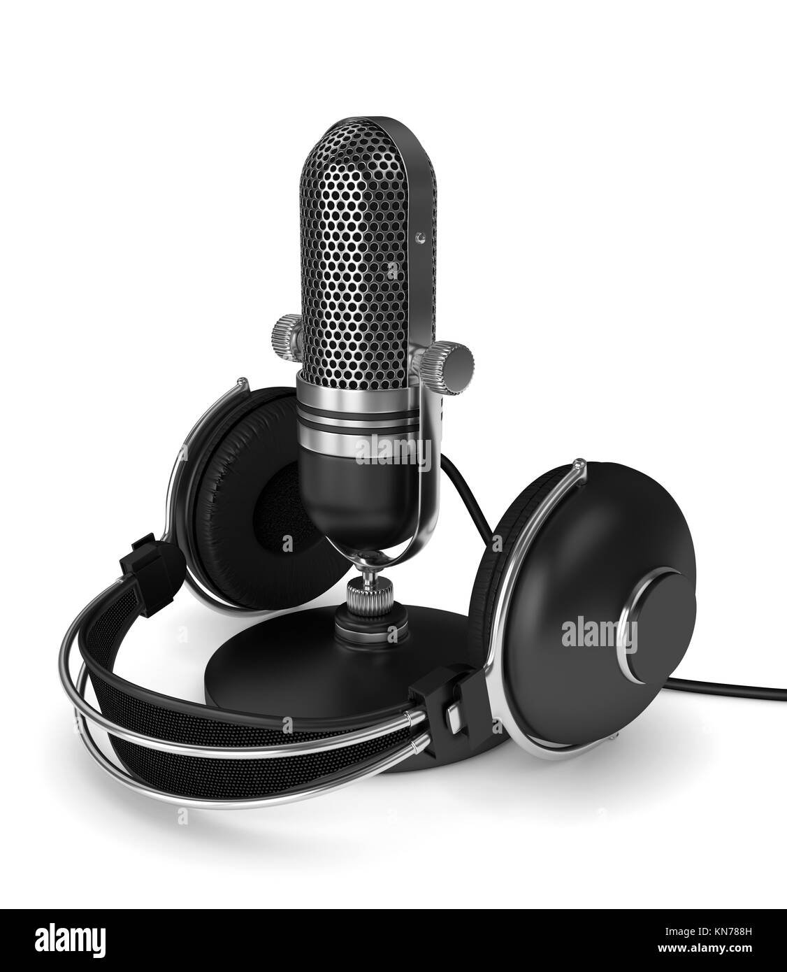 3d render of microphone with headphones  over white background - Stock Image