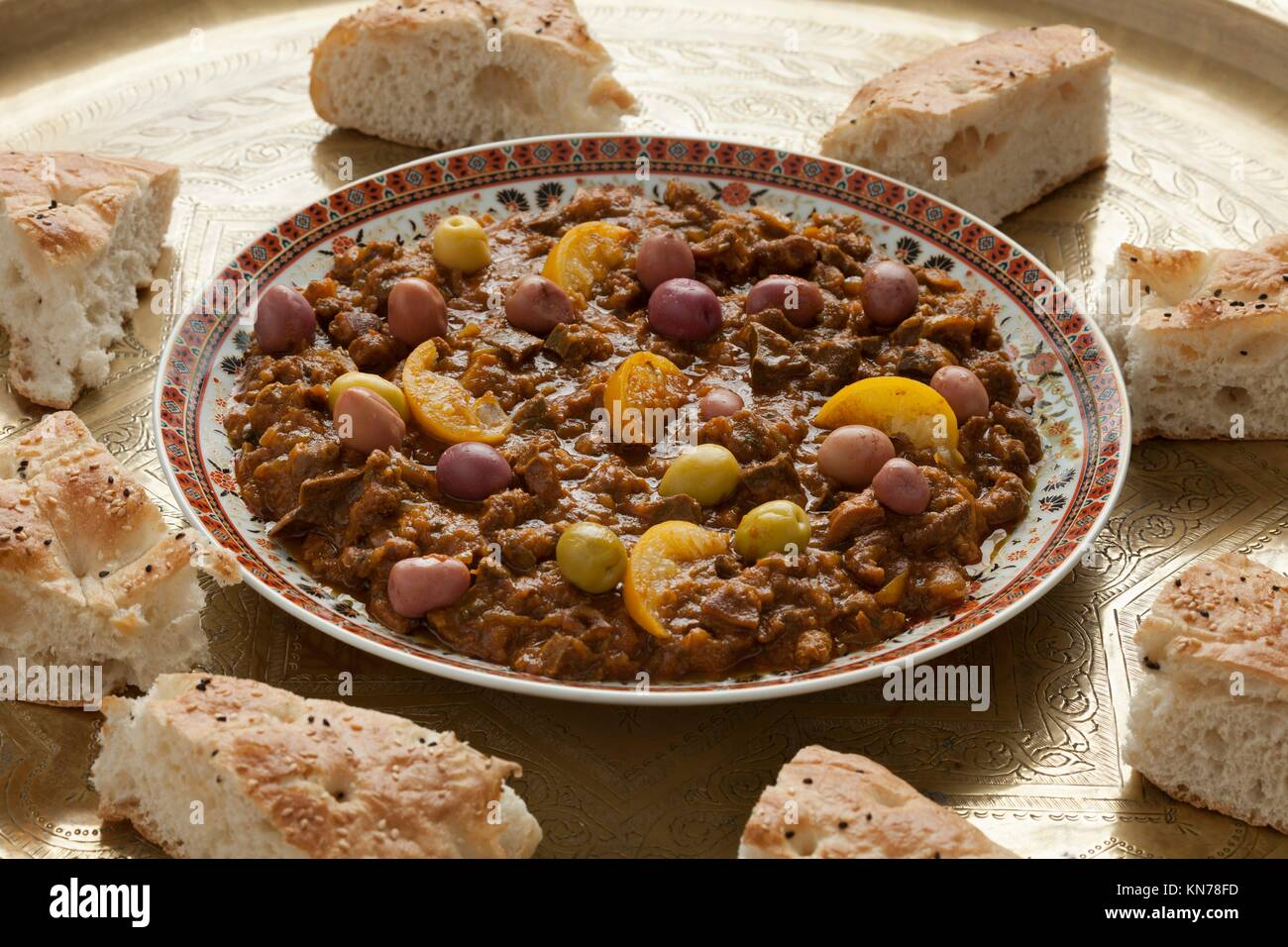 Dish with traditional moroccan kercha and bread for Eid al-Adha. - Stock Image