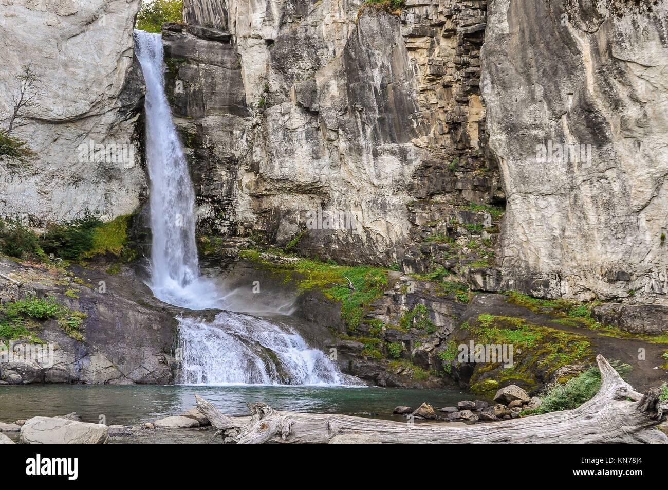 Beautiful waterfall close to El Chalten, Patagonia, Argentina. - Stock Image