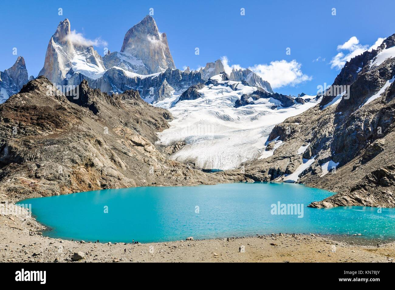 At the lagoon, Fitz Roy Walk, El Chalten, Patagonia, Argentina. - Stock Image