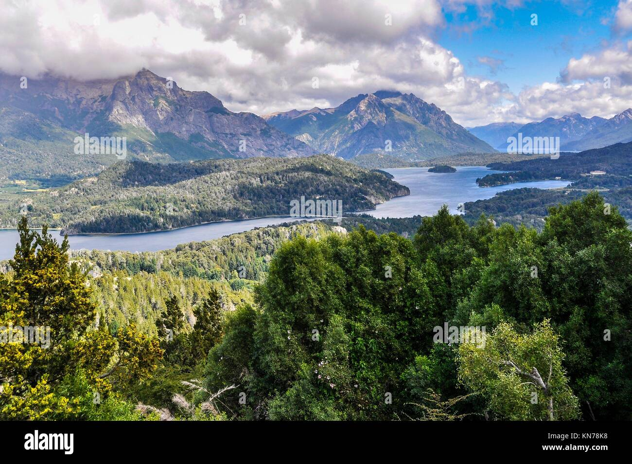 View of the lake area close to Bariloche, Patagonia, Argentina. - Stock Image