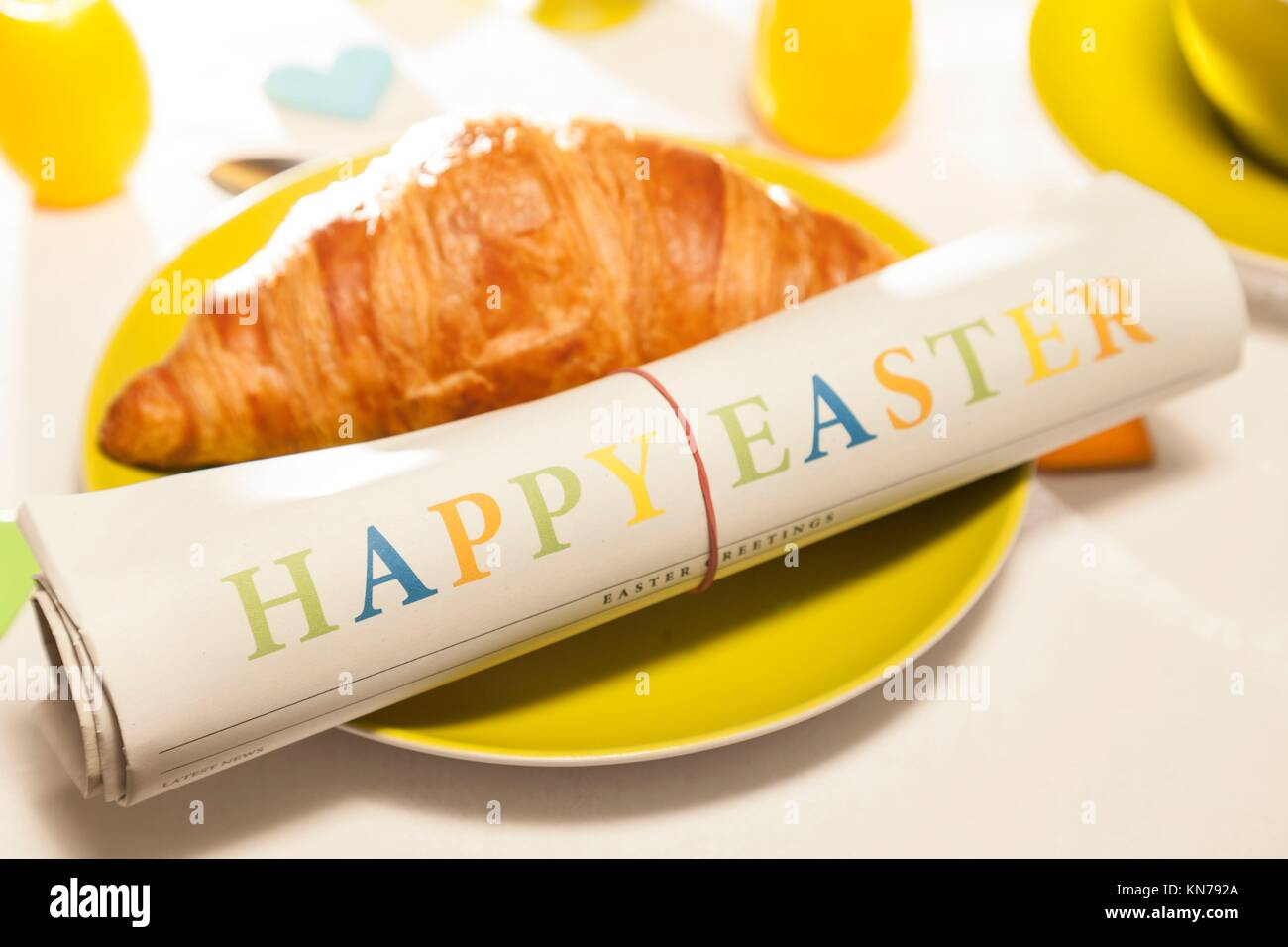 Happy Easter newspaper. - Stock Image