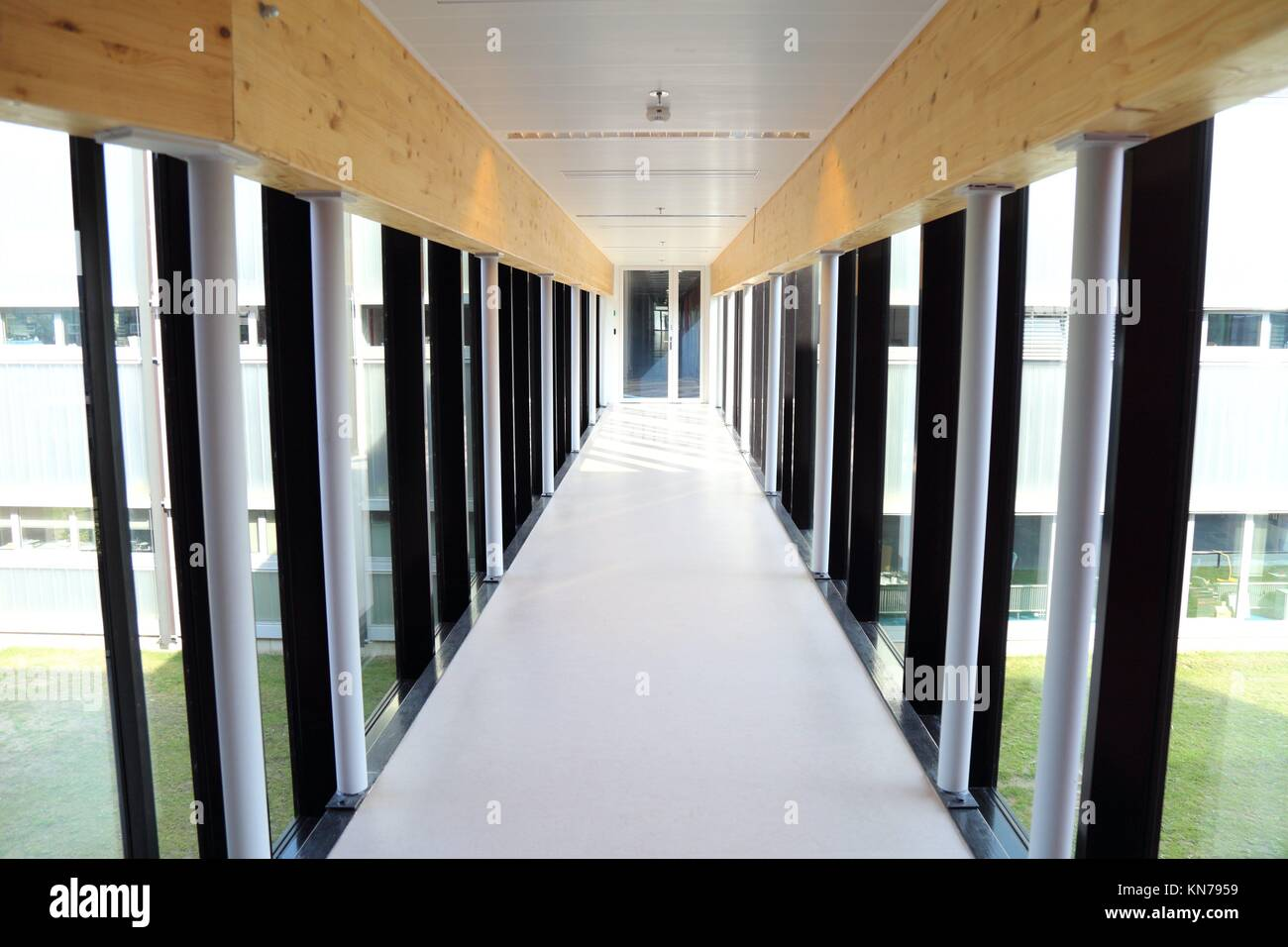 Hallway with transparent walls on a sunny day Stock Photo