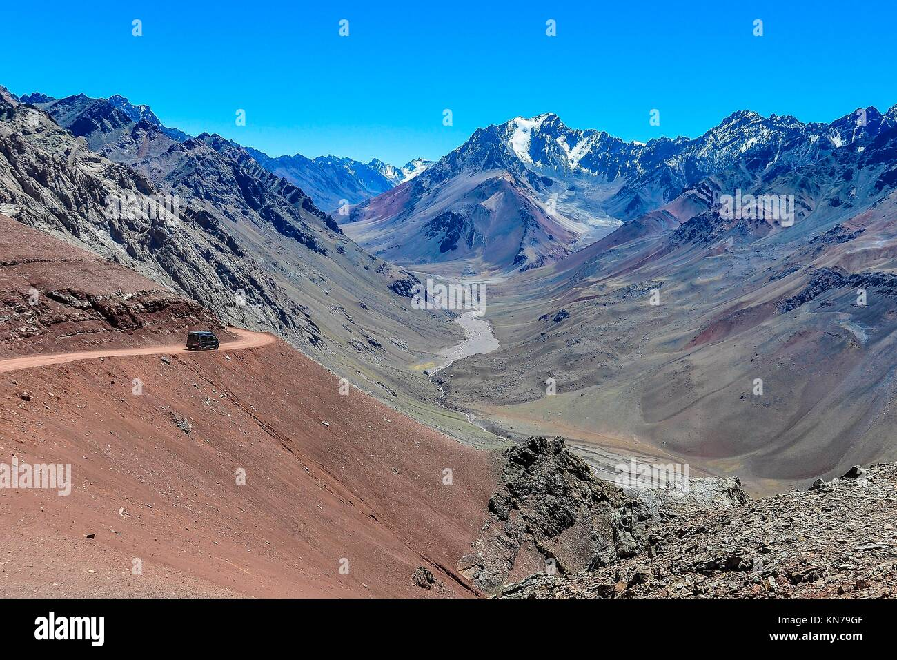 View of a valley in the Andes around Mendoza, Argentina. - Stock Image