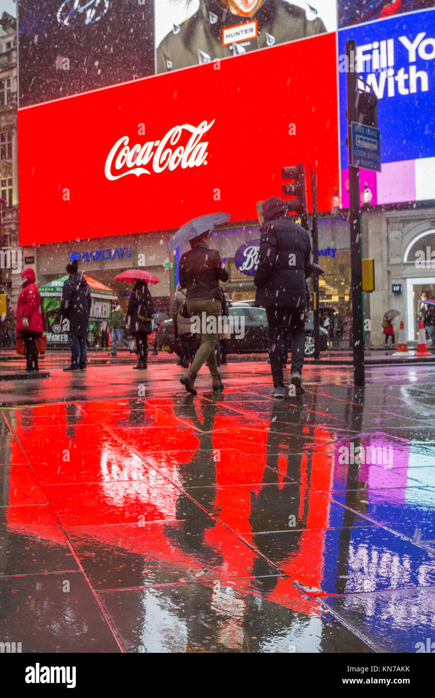 Piccadilly Circus in the rain, London, UK - Stock Image