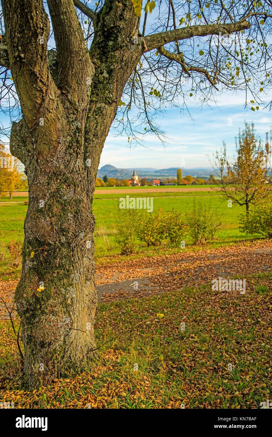 country idyll with view to German highlands. - Stock Image