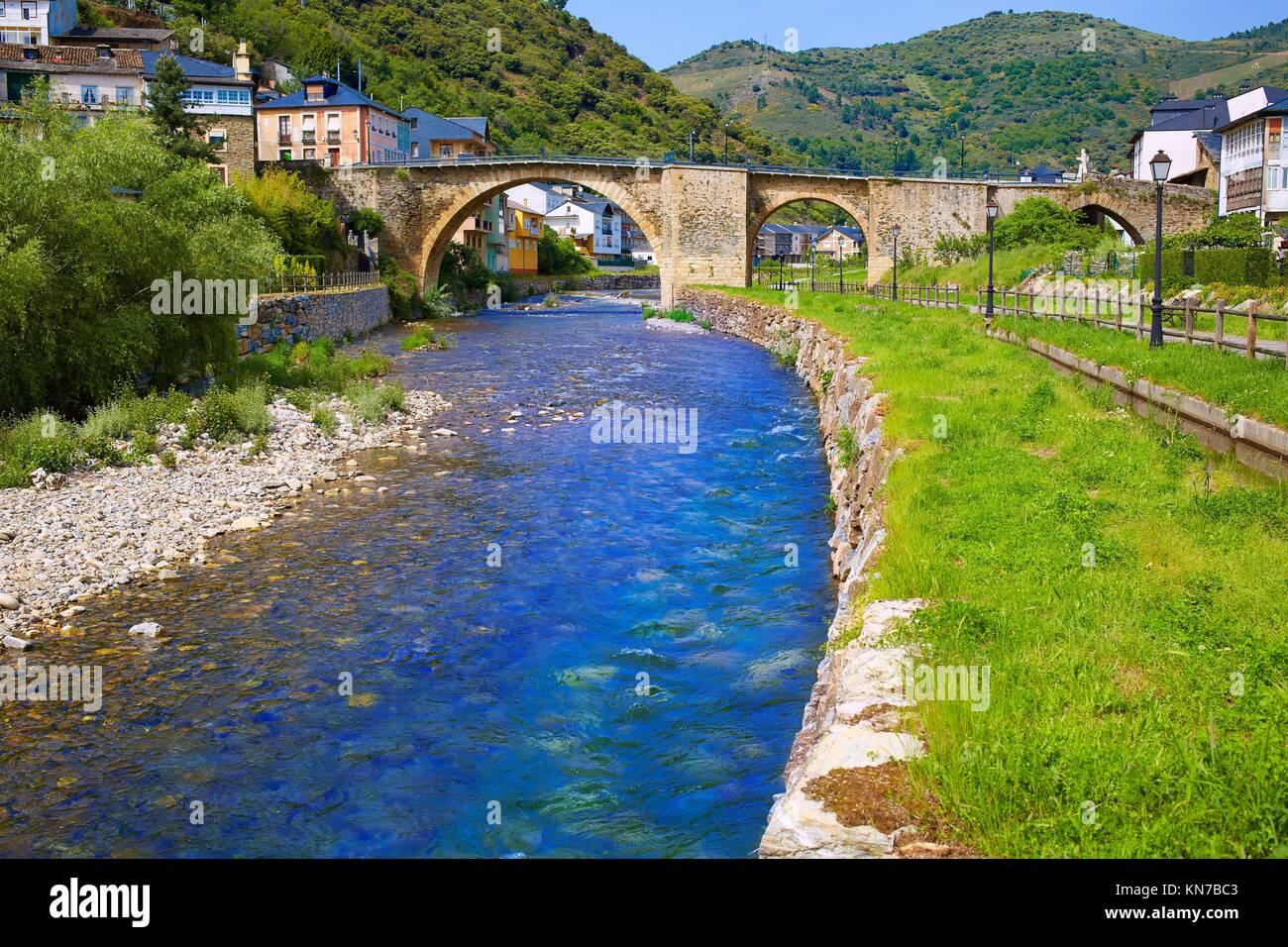 Villafranca del Bierzo by Way of Saint James Burbia river in Leon Spain. - Stock Image