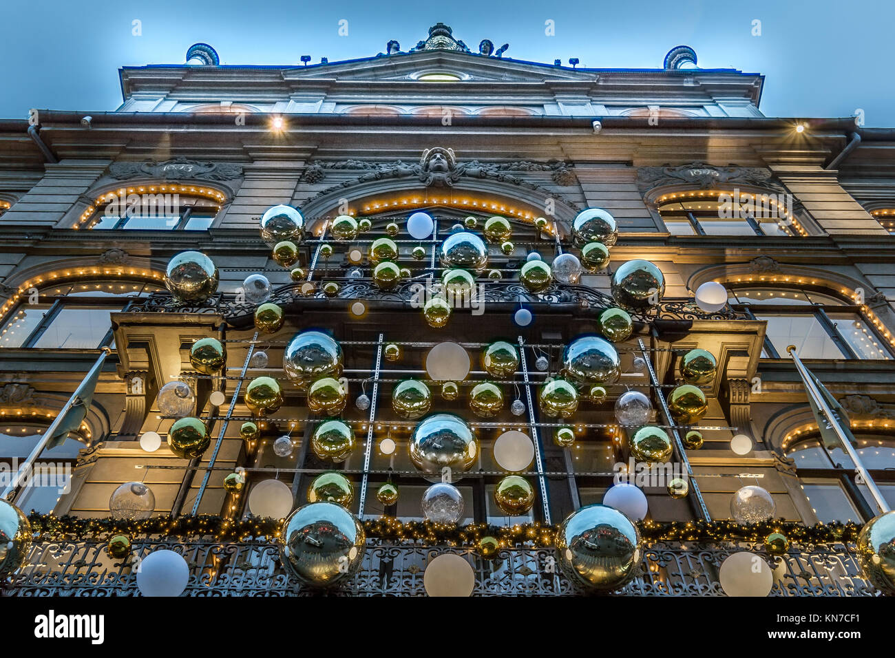 The christmas decorated entrance at Magasin du Nord in Copenhagen, Denmark, December 5, 2017 - Stock Image