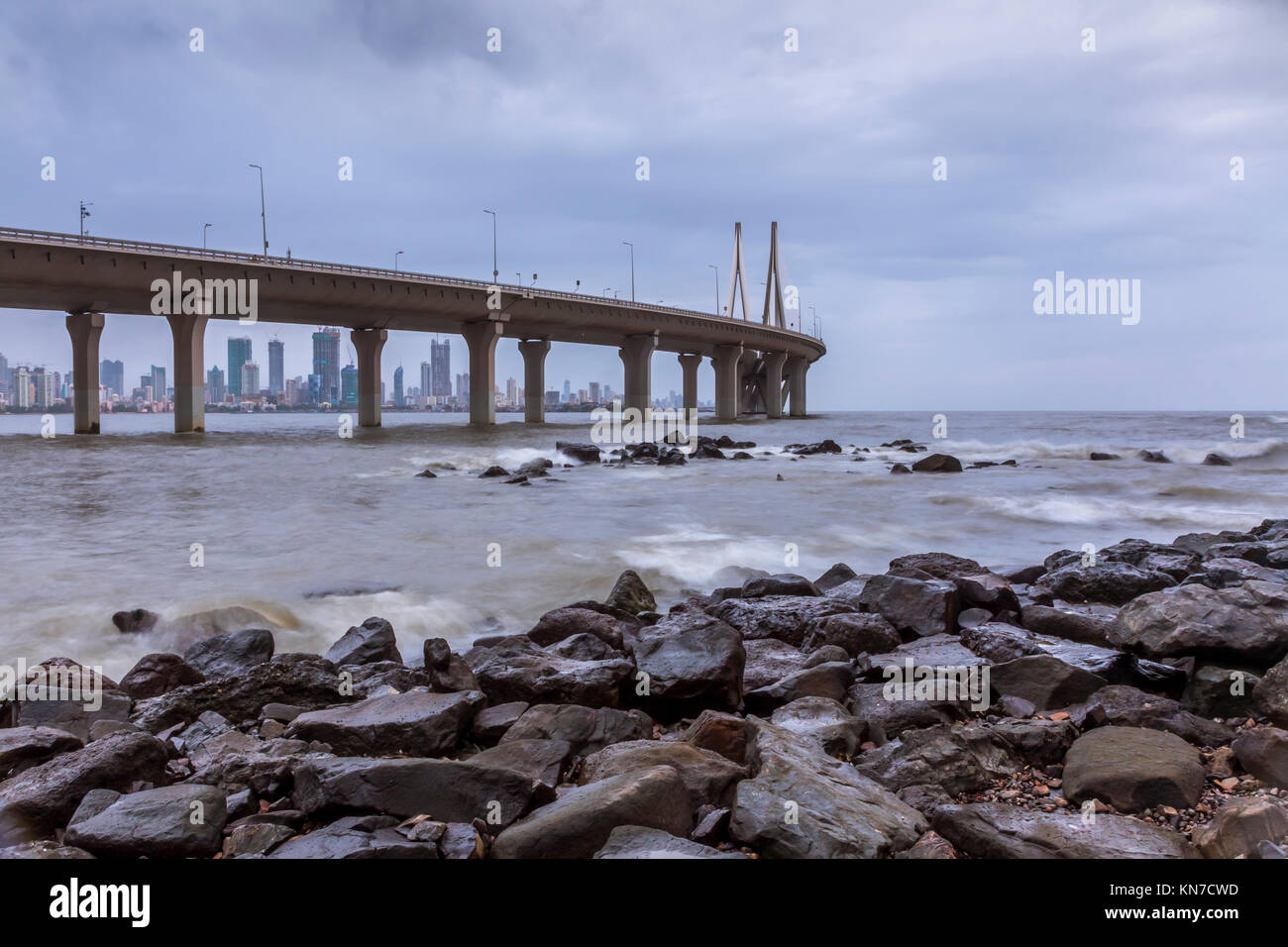 Sea view from Bandra Bandstand - Stock Image
