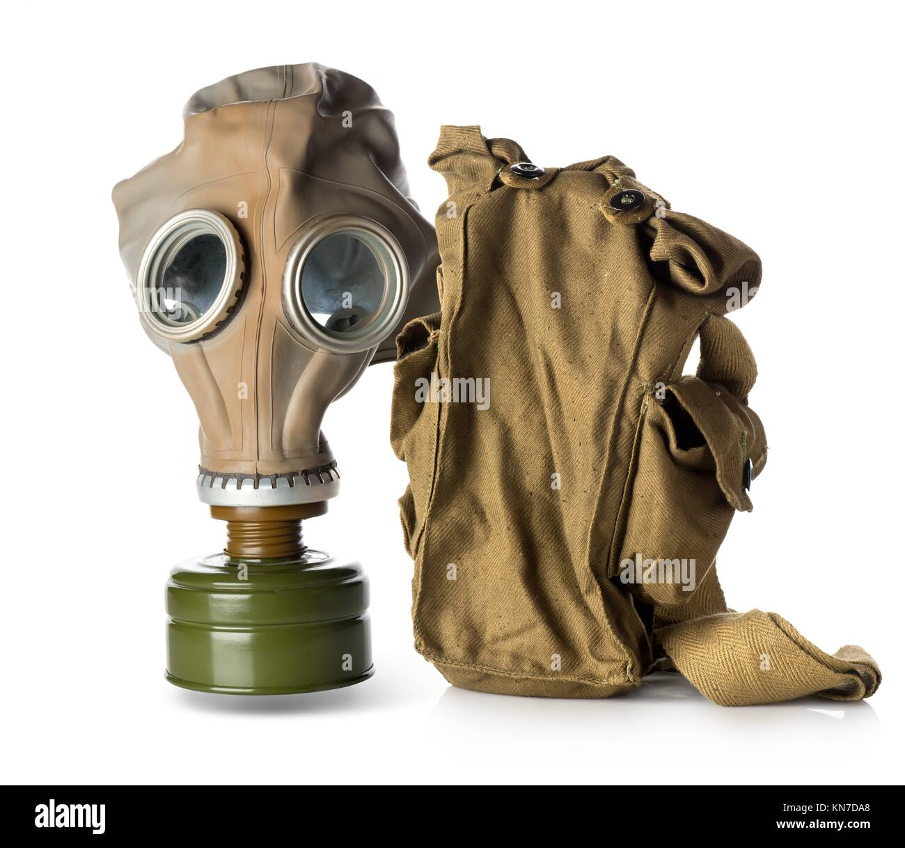 Respirator with bag isolated on white background. - Stock Image