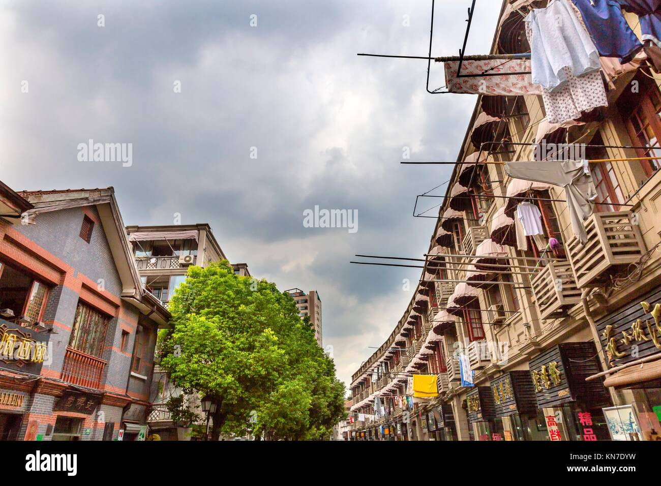 Old Duolon Cultural Road Hongkou District Shanghai China. Old Shanghai Houses and Street built during revolutionary - Stock Image