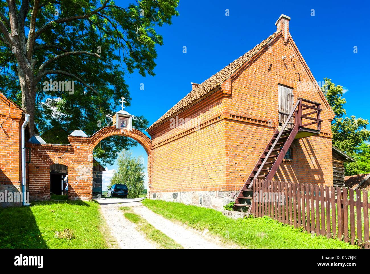 gate of Monastery of the Old Believers, Wojnowo, Warmian-Masurian Voivodeship, Poland. - Stock Image