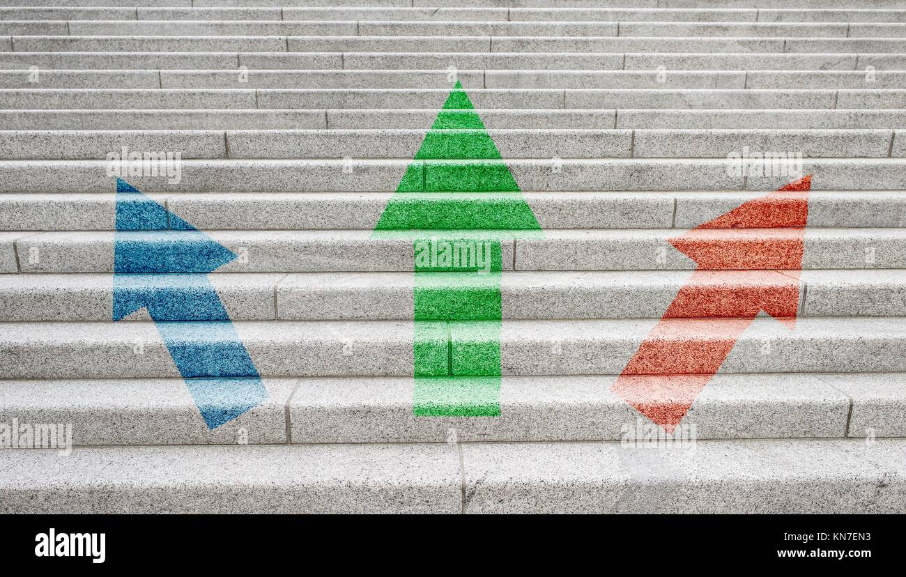 Three arrows pointing up. Symbol of direction, development and business progress. Stock Photo