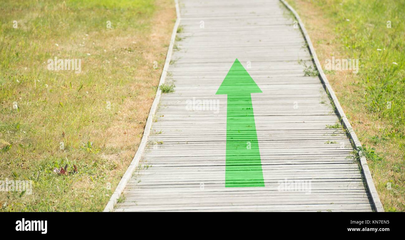 Green arrow with forward direction on natural footpath. Concept of environment protection. - Stock Image
