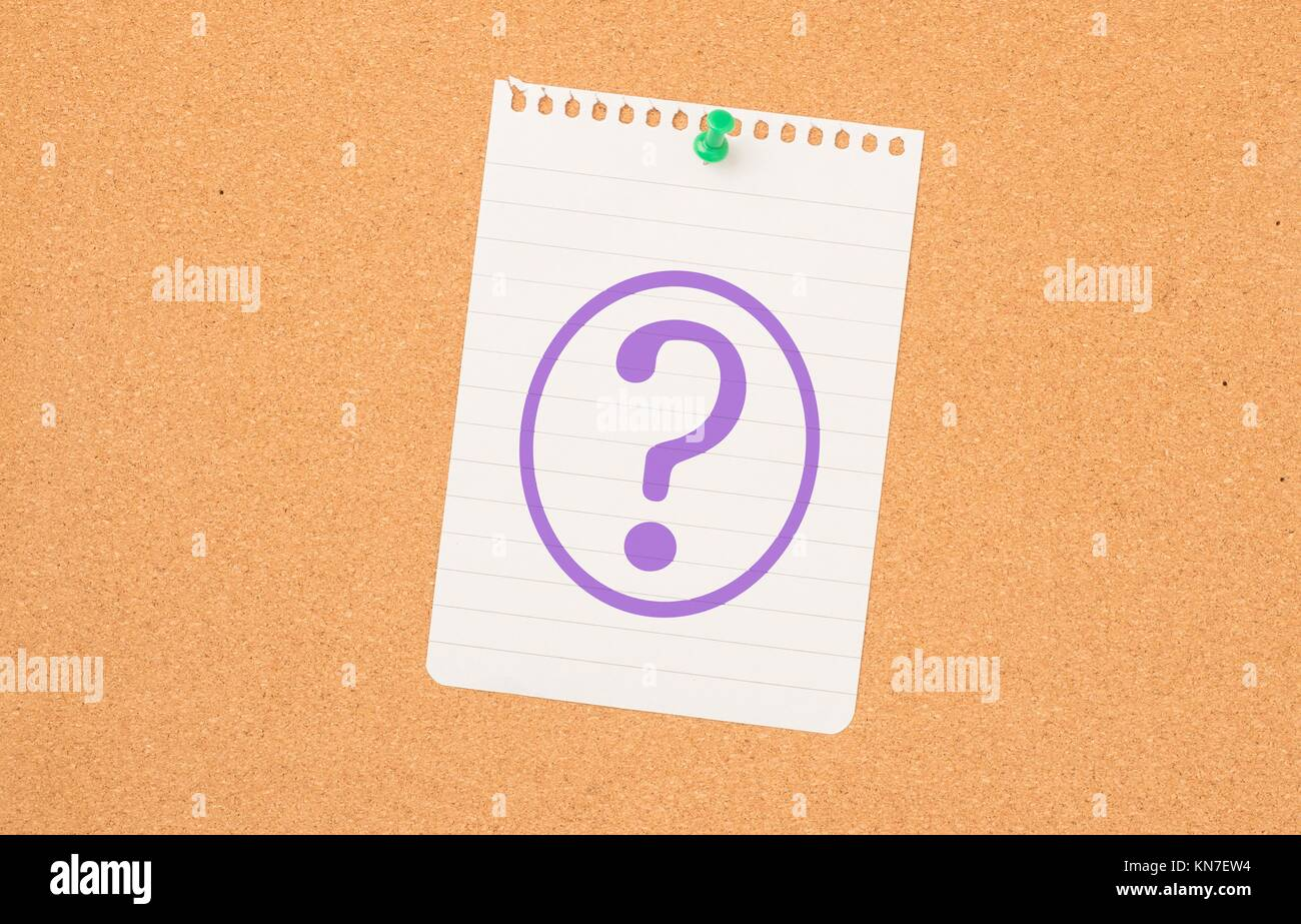 Question mark on paper pinned to message board. Symbol of query, reminder or confusion. - Stock Image