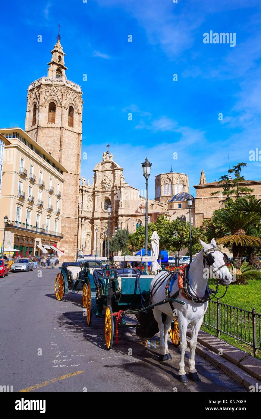 Valencia Cathedral and Miguelete tower Micalet in Spain. Stock Photo