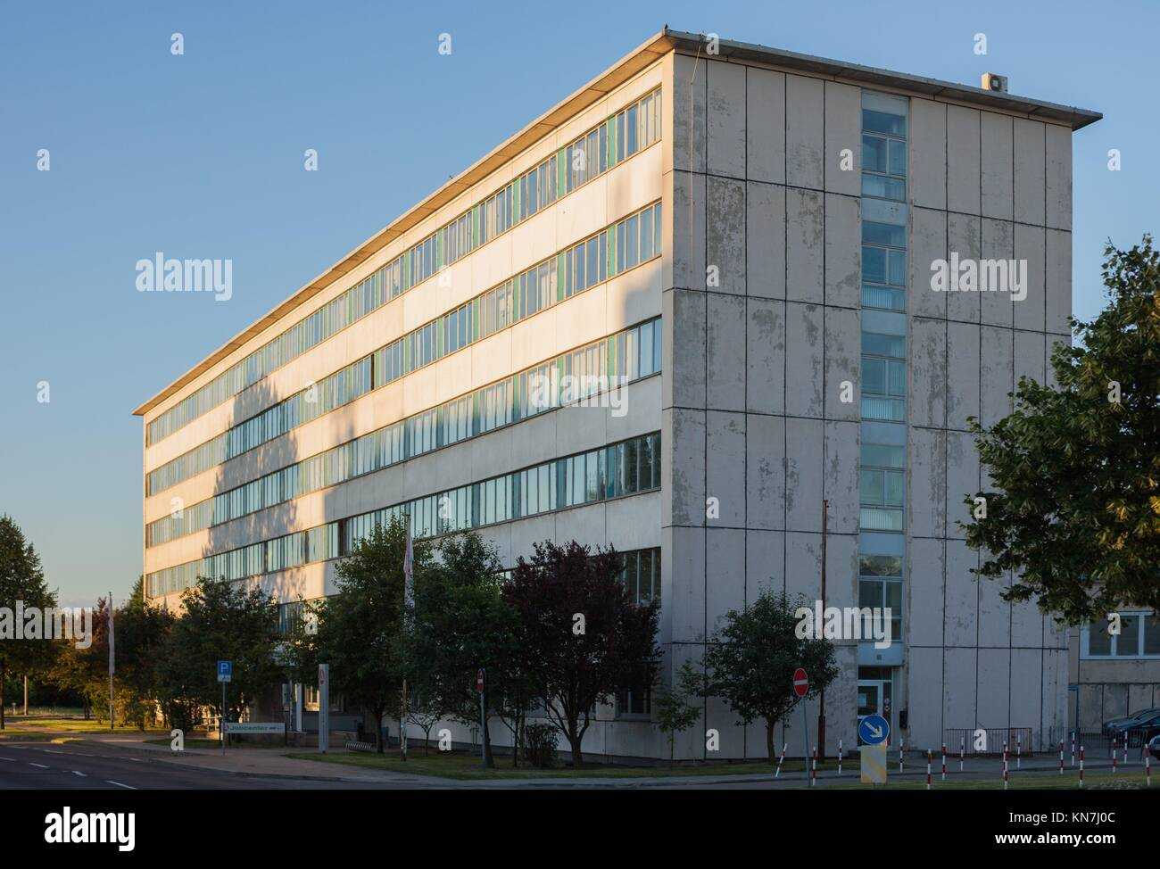 Former Stasi headquarters in Frankfurt (Oder), Germany, now the Agentur fuer Arbeit. - Stock Image