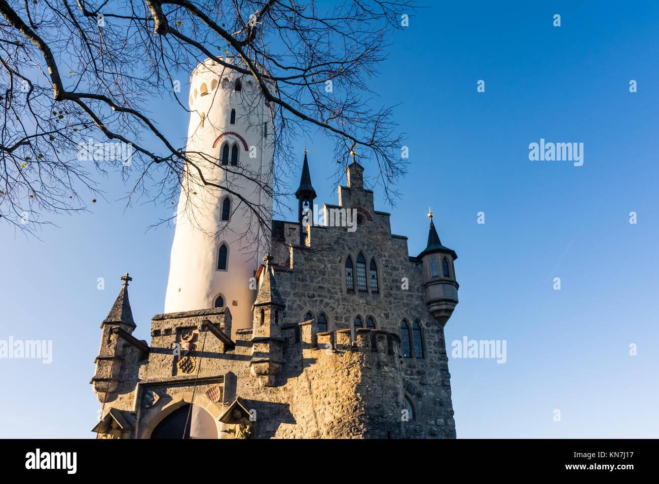 Schloss Lichtenstein Castle Germany Baden-Wuerttemberg Swabian Alb Mountain Castle Fairy Tale Landscape Fortress Stock Photo