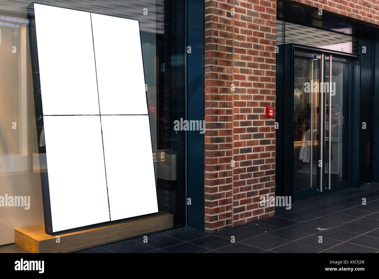 Shop Store Front Window Display Upscale Mall Mockup White Isolated Advertisement Blank - Stock Image