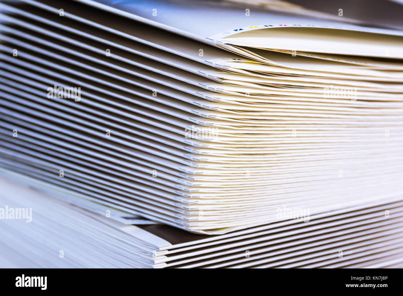 Folded Stack of Paper Signatures Output Media Industry Design Sheets Book Production Commercial - Stock Image
