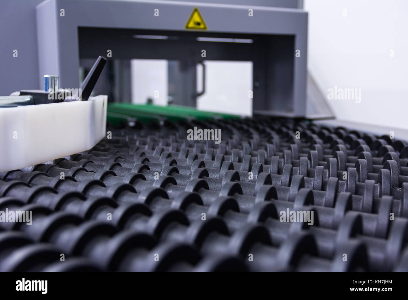 Industrail Transport Rollers Black Machine Factory Production Idle Empty - Stock Image