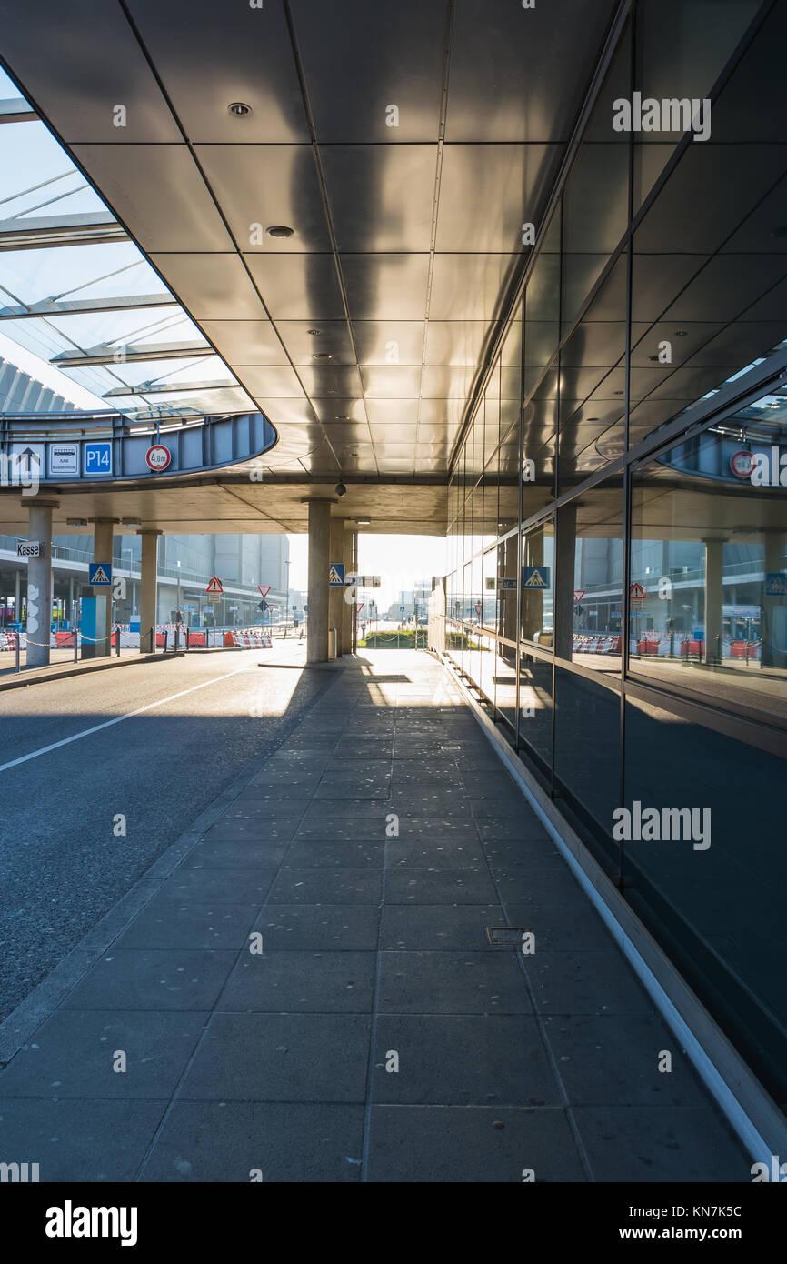 Airport Corridor Bus Arrival Area Modern Architecture Glass Sun Bright - Stock Image