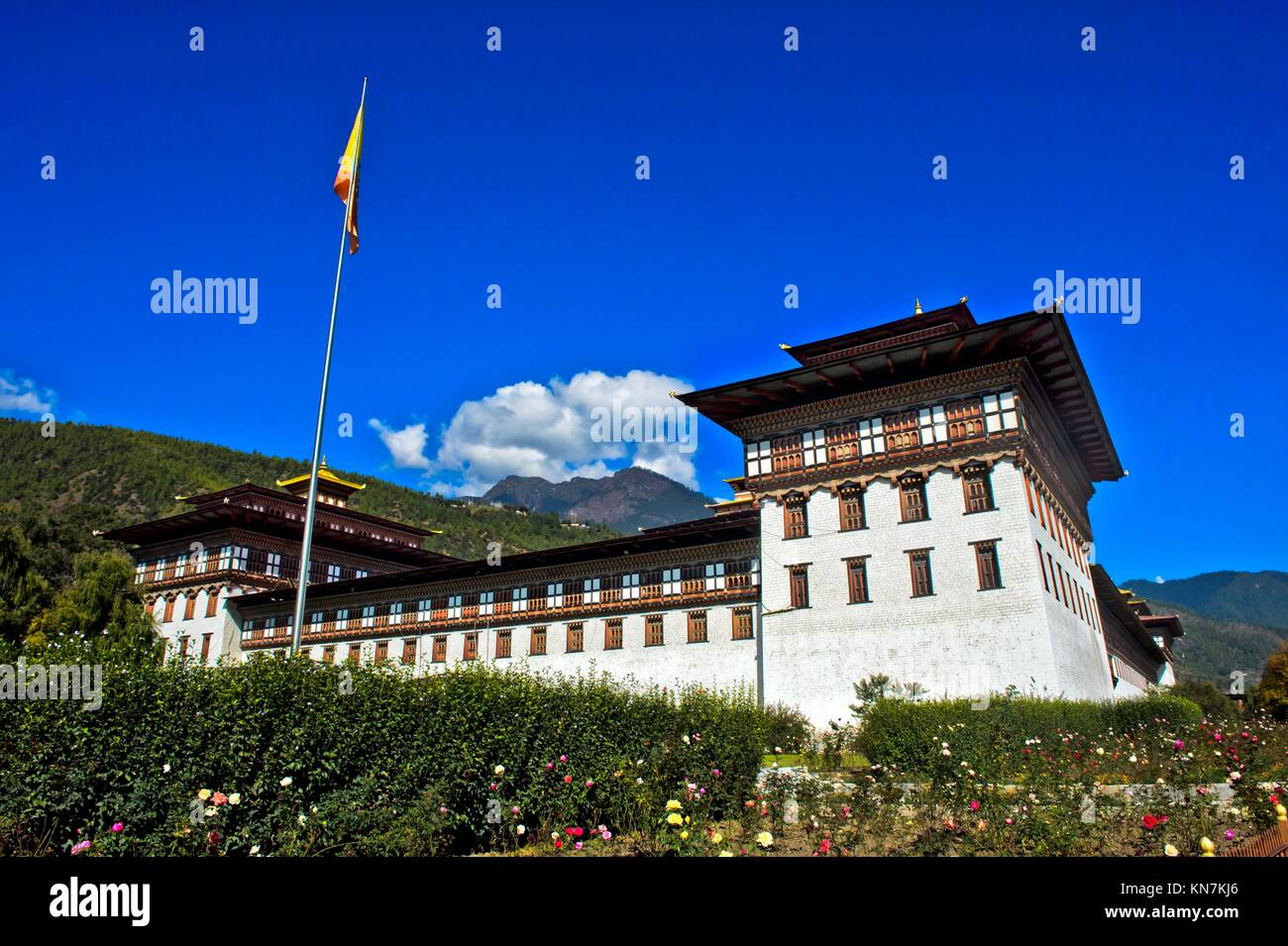 Seat of government Thimphu Dzong or Trashi Chhoe Dzong in the traditional architecural style, Thimphu, Bhutan. Stock Photo