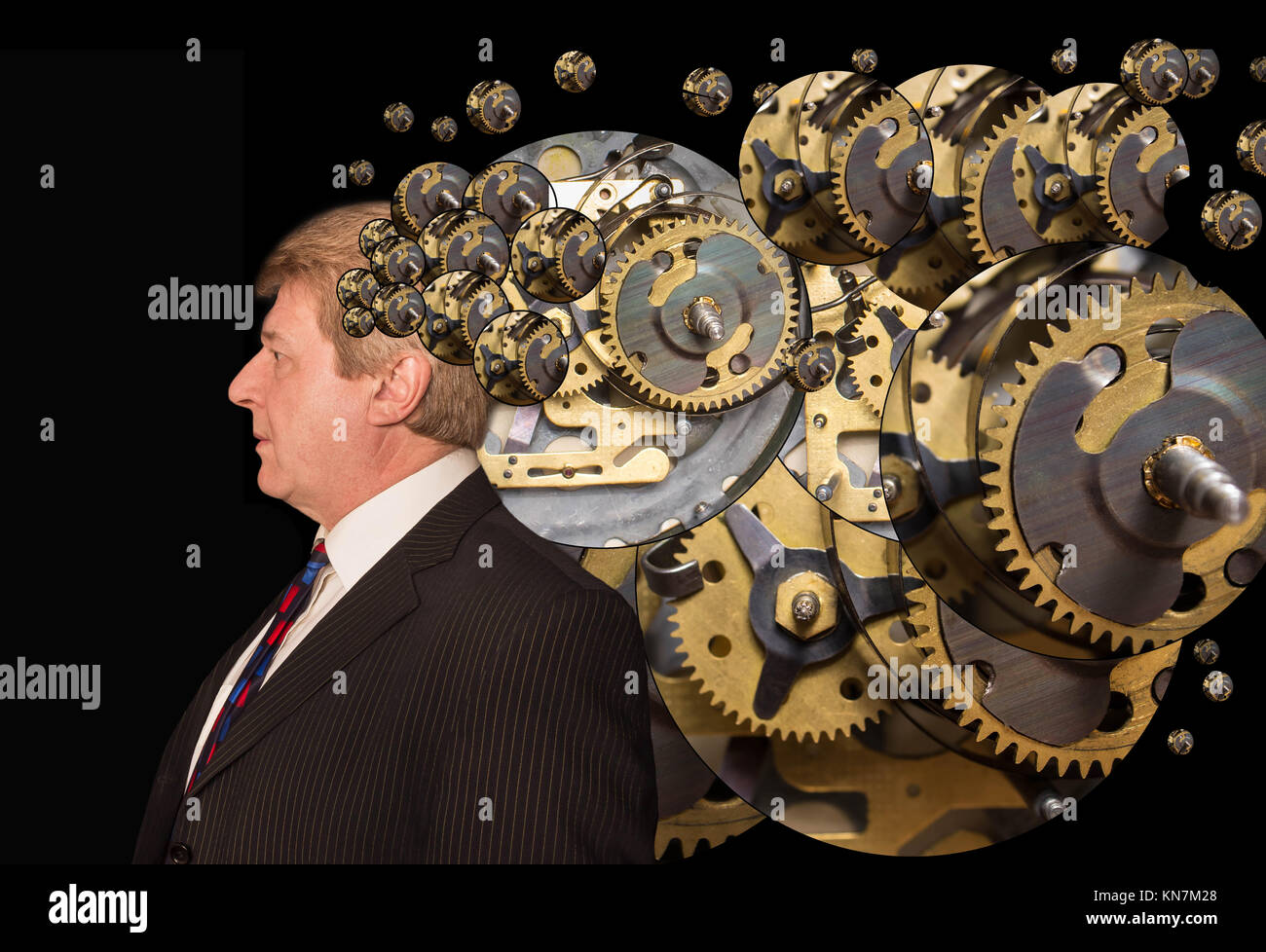 The man with a brain with machine parts - Stock Image