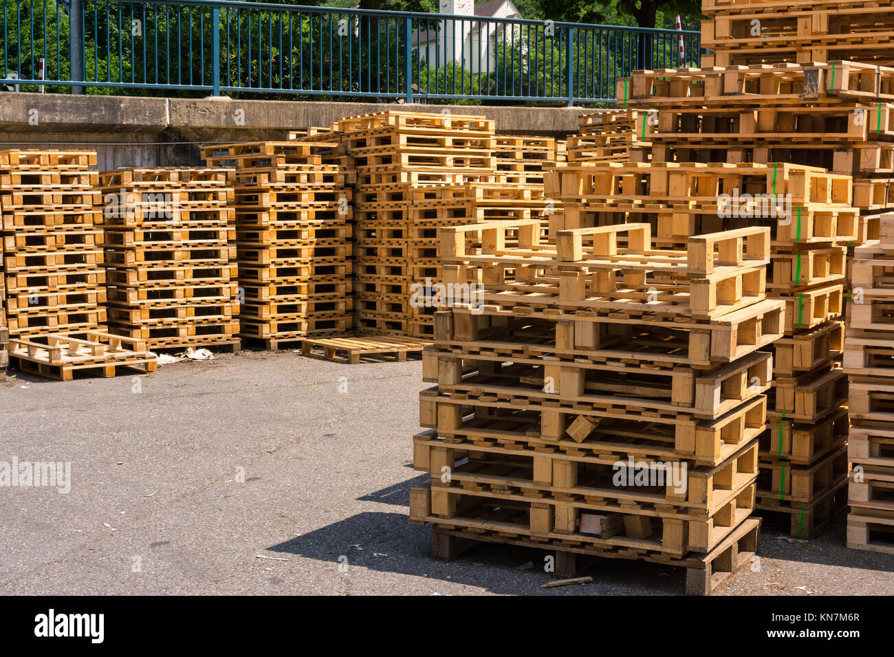 Wooden Palettes Industrial Usage Stack Closeup Factory Company Storage Empty - Stock Image