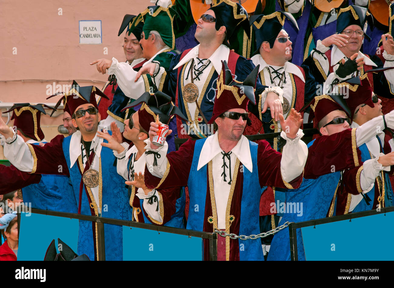Carnival, Choir - show on the Plaza Candelaria, Cadiz, Region of Andalusia, Spain, Europe - Stock Image