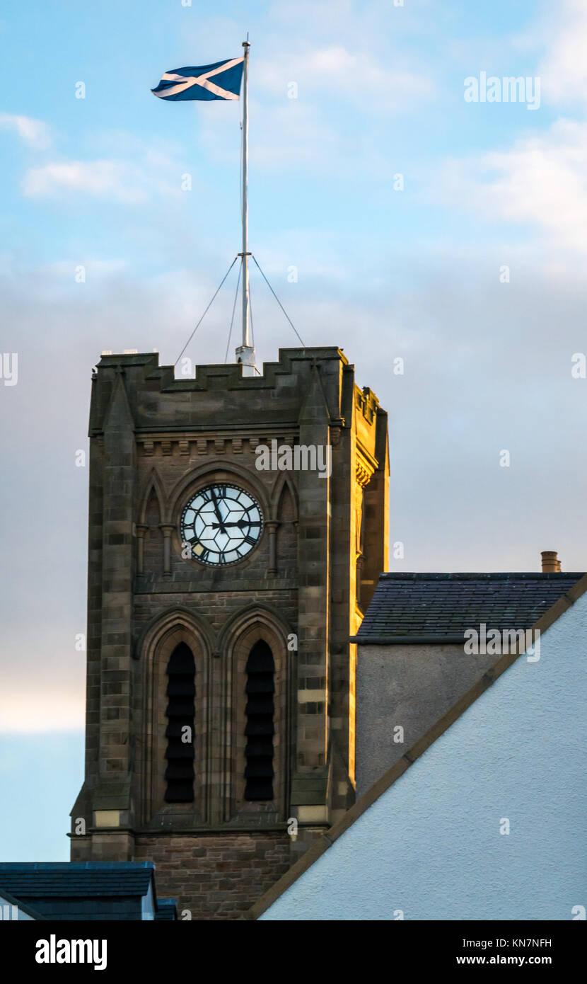 St Andrew Blackadder Church tower, St Andrew Street, North Berwick, East Lothian, Scotland, UK, with flagpole flying - Stock Image