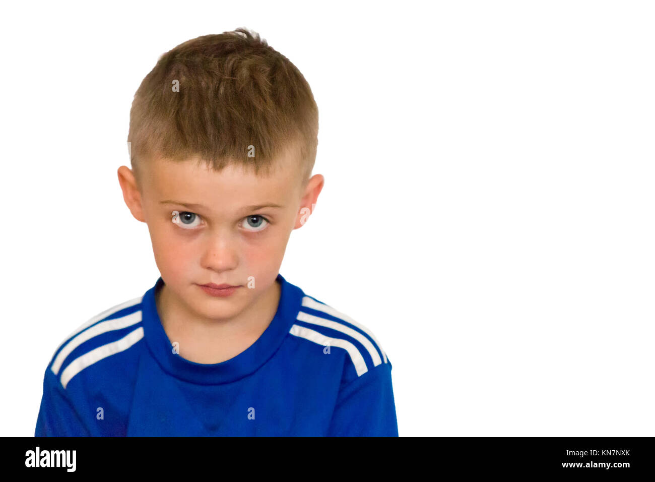Young boy looking up head and shoulder portrait isolated on white background  Model Release: Yes.  Property Release: - Stock Image