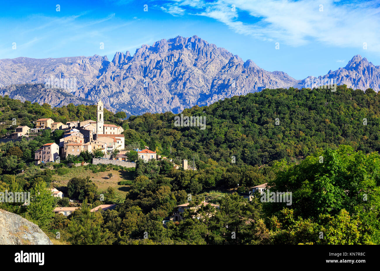 High Mountain Village of Soveria, Haut Corse, Corsica Stock Photo