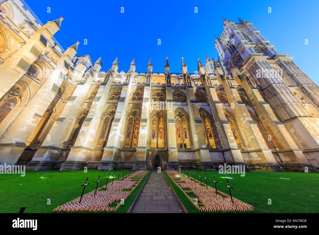 London, NOV 13: Night view of the AWestminster Abbey with Veteran's day on NOV 13, 2015 at London, United Kingdom Stock Photo