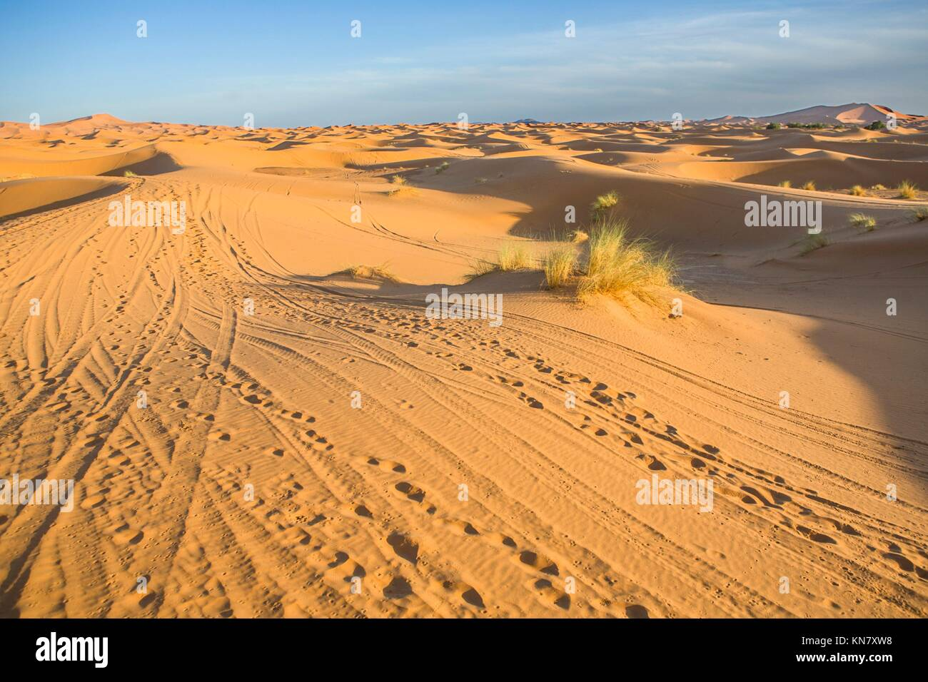 Several sand hill at Erg Chebbi in the Sahara desert. Ers are large dunes formed by wind-blown sand. Morocco. Stock Photo
